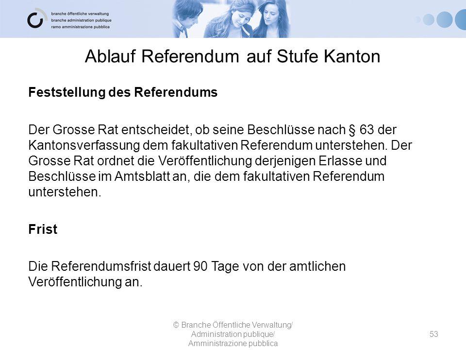 Ablauf Referendum auf Stufe Kanton Feststellung des Referendums Der Grosse Rat entscheidet, ob seine Beschlüsse nach § 63 der Kantonsverfassung dem fa