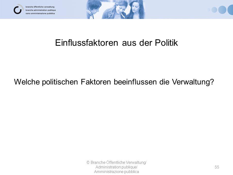 55 © Branche Öffentliche Verwaltung/ Administration publique/ Amministrazione pubblica Welche politischen Faktoren beeinflussen die Verwaltung? Einflu