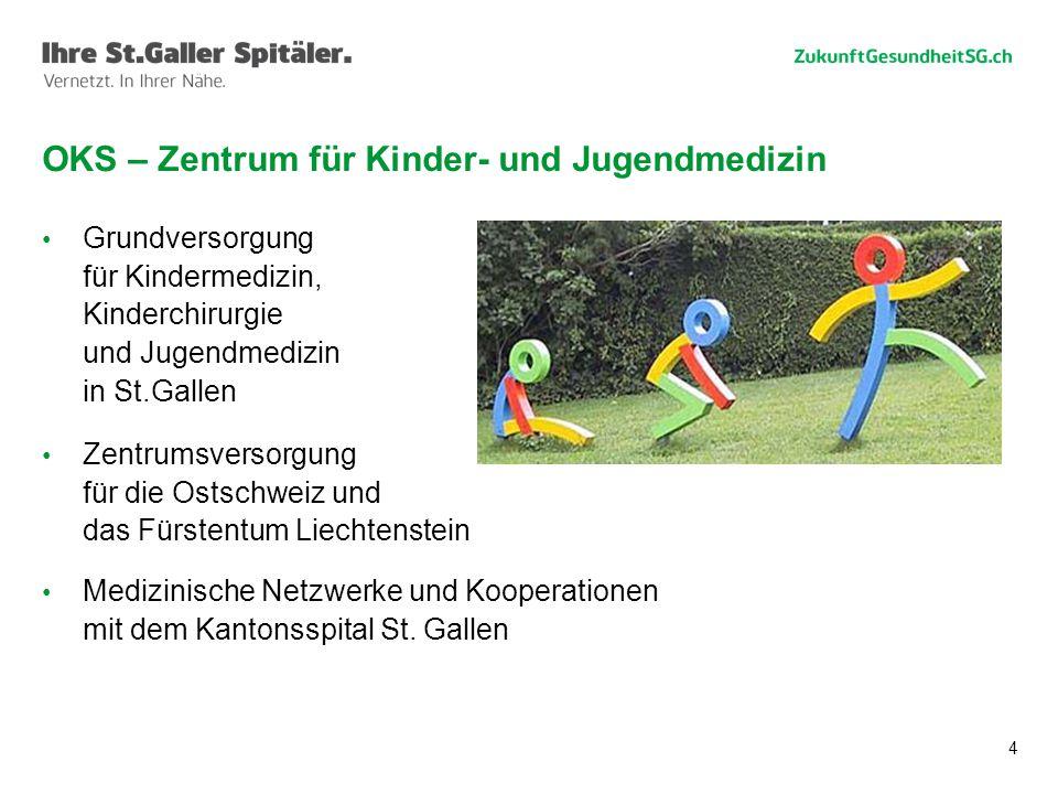 4 Grundversorgung für Kindermedizin, Kinderchirurgie und Jugendmedizin in St.Gallen Zentrumsversorgung für die Ostschweiz und das Fürstentum Liechtenstein Medizinische Netzwerke und Kooperationen mit dem Kantonsspital St.