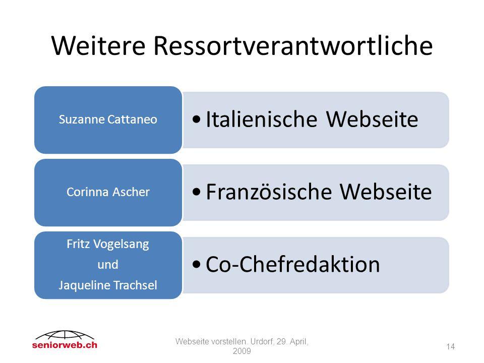 Weitere Ressortverantwortliche Italienische Webseite Suzanne Cattaneo Französische Webseite Corinna Ascher Co-Chefredaktion Fritz Vogelsang und Jaqueline Trachsel 14 Webseite vorstellen.