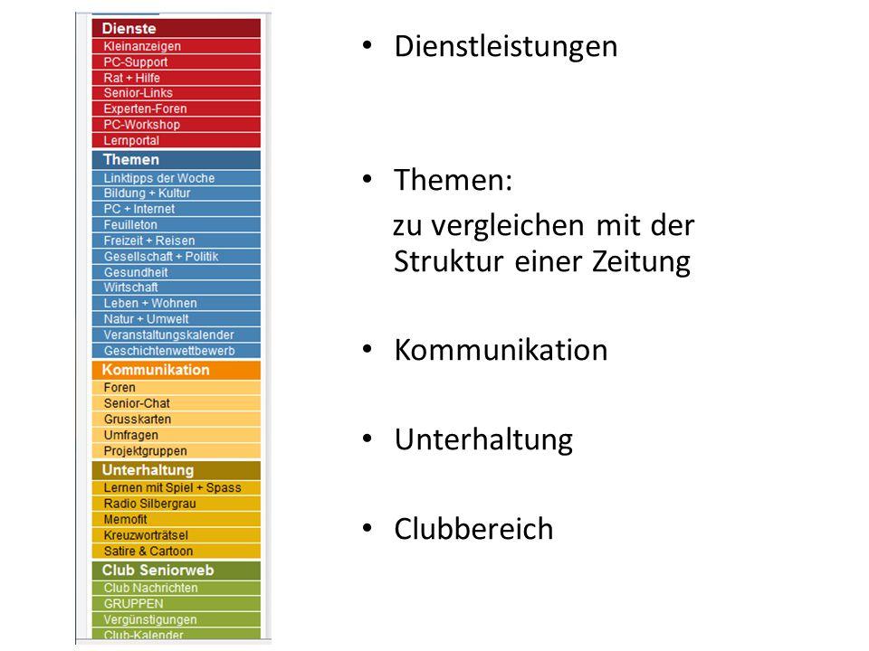Dienstleistungen Themen: zu vergleichen mit der Struktur einer Zeitung Kommunikation Unterhaltung Clubbereich