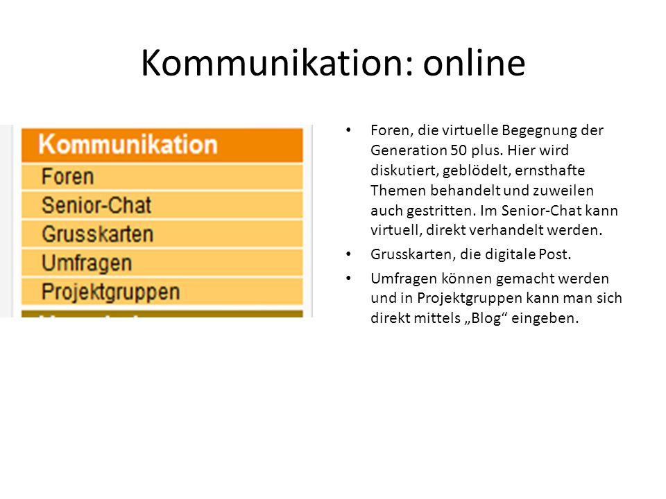 Kommunikation: online Foren, die virtuelle Begegnung der Generation 50 plus.