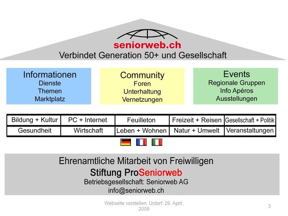 Wie ist Seniorweb entstanden Gründung 1998 auf Grund einer Einzelinitiative Mit Unterstützung von: -Migros Kulturprozent, -Pro Senectute, -EURAG 4 Webseite vorstellen.