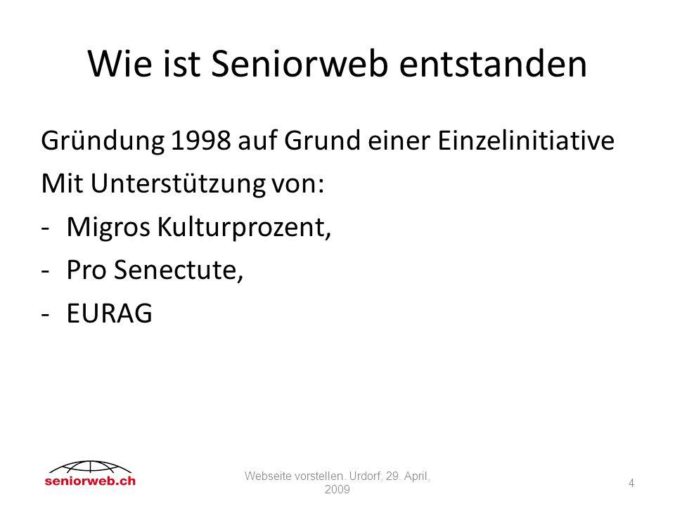 Werdegang von seniorweb.ch Professionelle Herstellung durch eine Ostschweizer IT-Firma.