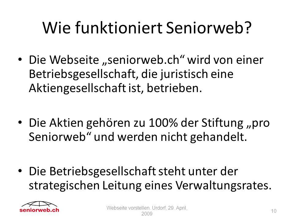 Wie funktioniert Seniorweb.