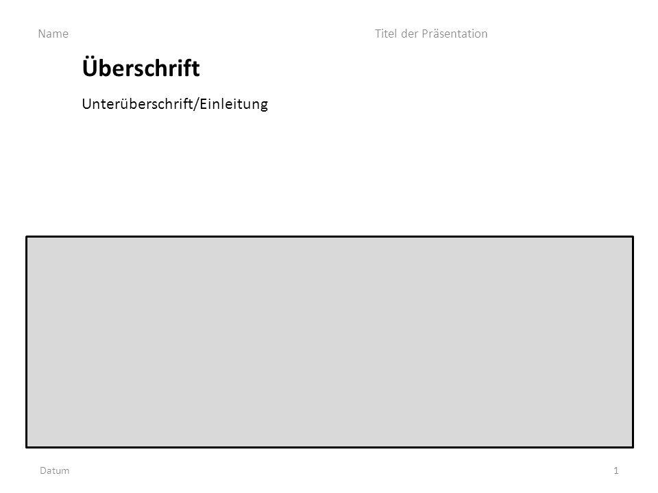 Überschrift d Unterüberschrift/Einleitung Datum Name Titel der Präsentation 1