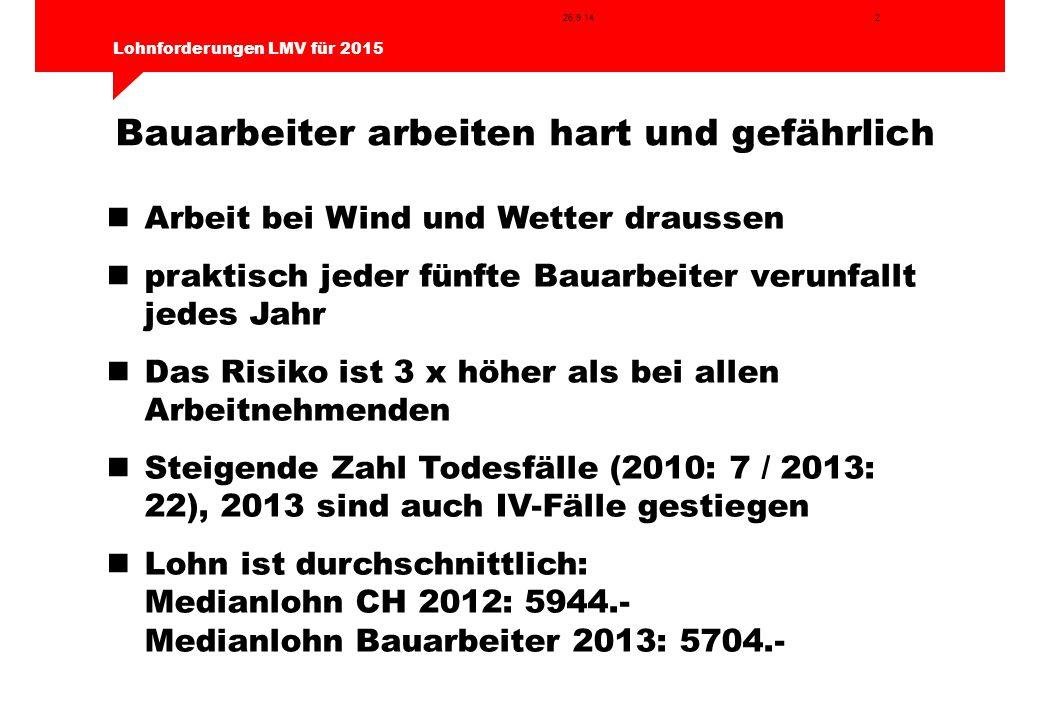 2 Lohnforderungen LMV für 2015 26.9.14 Bauarbeiter arbeiten hart und gefährlich Arbeit bei Wind und Wetter draussen praktisch jeder fünfte Bauarbeiter