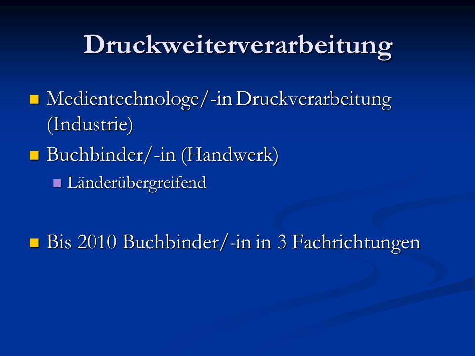 Druckweiterverarbeitung Medientechnologe/-in Druckverarbeitung (Industrie) Medientechnologe/-in Druckverarbeitung (Industrie) Buchbinder/-in (Handwerk) Buchbinder/-in (Handwerk) Länderübergreifend Länderübergreifend Bis 2010 Buchbinder/-in in 3 Fachrichtungen Bis 2010 Buchbinder/-in in 3 Fachrichtungen
