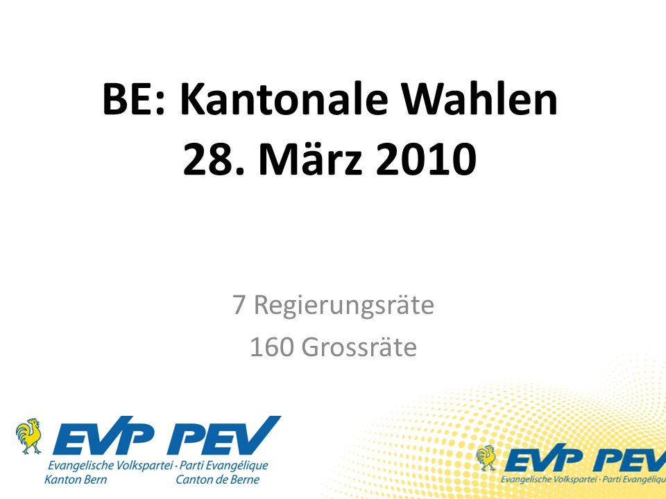 BE: Kantonale Wahlen 28. März 2010 7 Regierungsräte 160 Grossräte