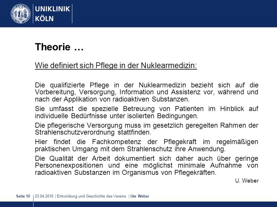 23.04.2010 | Entwicklung und Geschichte des Vereins | Ute WeberSeite 10 Theorie … Wie definiert sich Pflege in der Nuklearmedizin: Die qualifizierte P