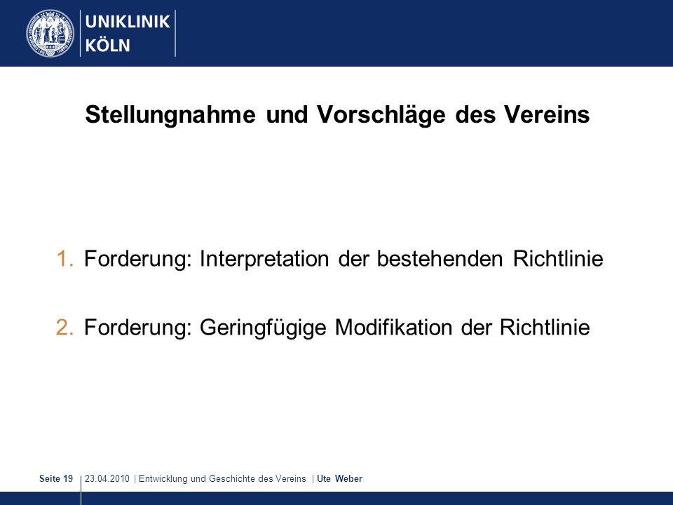 23.04.2010 | Entwicklung und Geschichte des Vereins | Ute WeberSeite 19 Stellungnahme und Vorschläge des Vereins 1.Forderung: Interpretation der beste