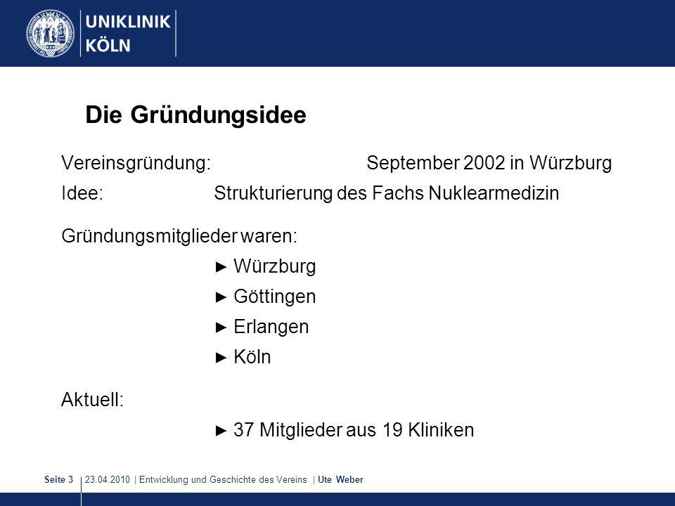 23.04.2010 | Entwicklung und Geschichte des Vereins | Ute WeberSeite 3 Die Gründungsidee Vereinsgründung: September 2002 in Würzburg Idee:Strukturieru