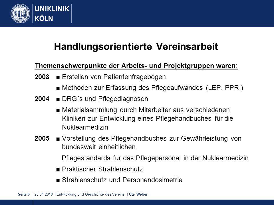 23.04.2010 | Entwicklung und Geschichte des Vereins | Ute WeberSeite 6 Handlungsorientierte Vereinsarbeit Themenschwerpunkte der Arbeits- und Projektg