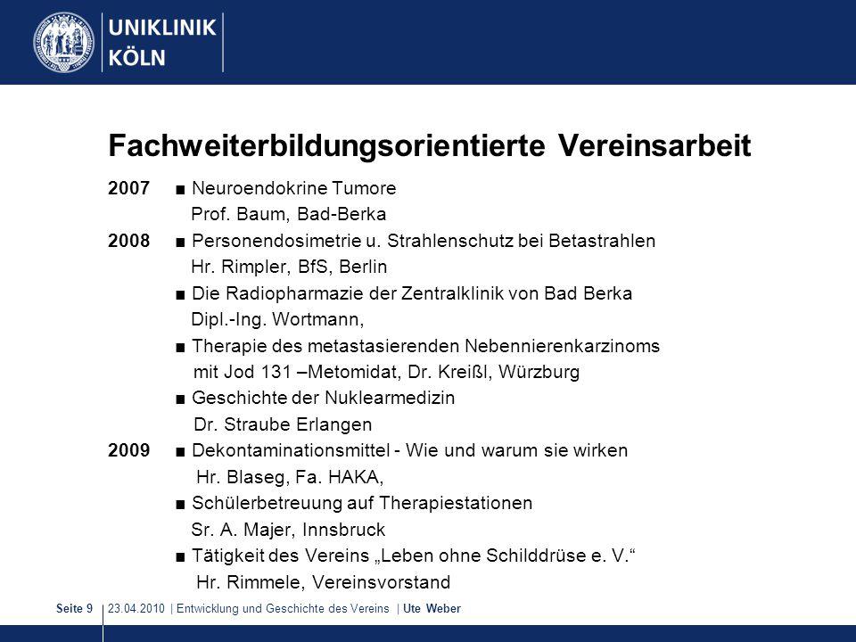 23.04.2010 | Entwicklung und Geschichte des Vereins | Ute WeberSeite 9 2007■ Neuroendokrine Tumore Prof. Baum, Bad-Berka 2008■ Personendosimetrie u. S
