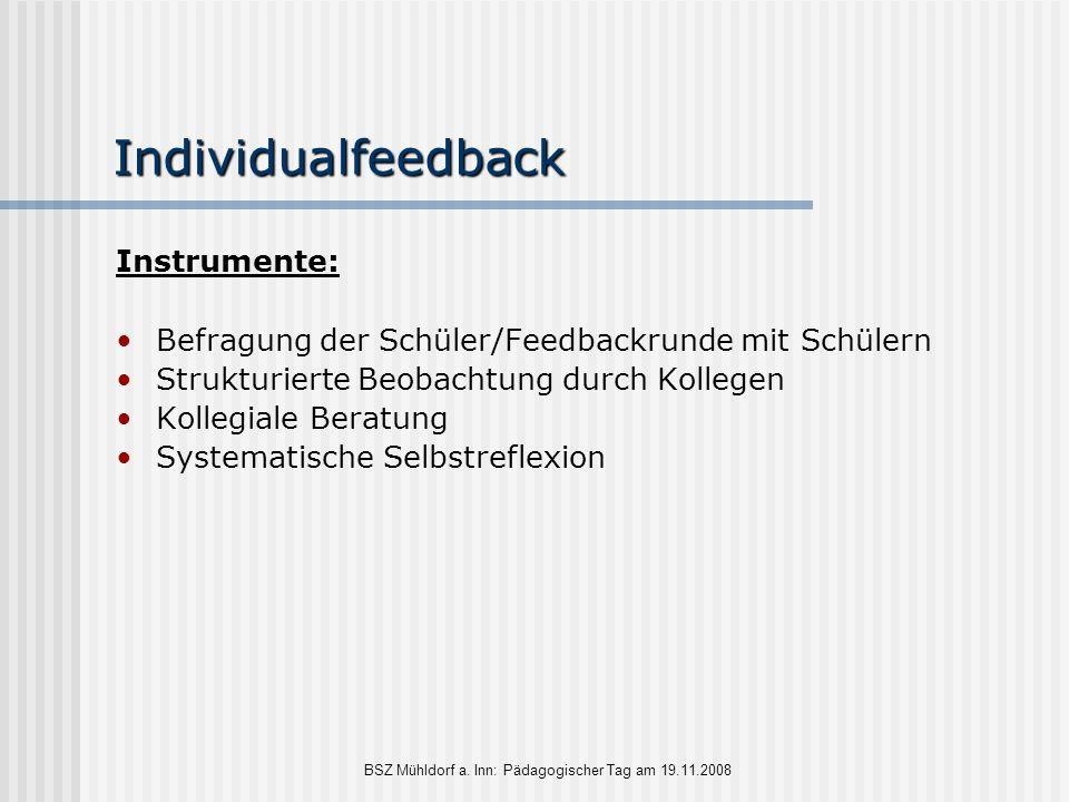 Individualfeedback Instrumente: Befragung der Schüler/Feedbackrunde mit Schülern Strukturierte Beobachtung durch Kollegen Kollegiale Beratung Systemat