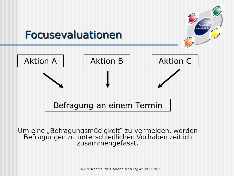 """BSZ Mühldorf a. Inn: Pädagogischer Tag am 19.11.2008 Focusevaluationen Aktion AAktion BAktion C Um eine """"Befragungsmüdigkeit"""" zu vermeiden, werden Bef"""