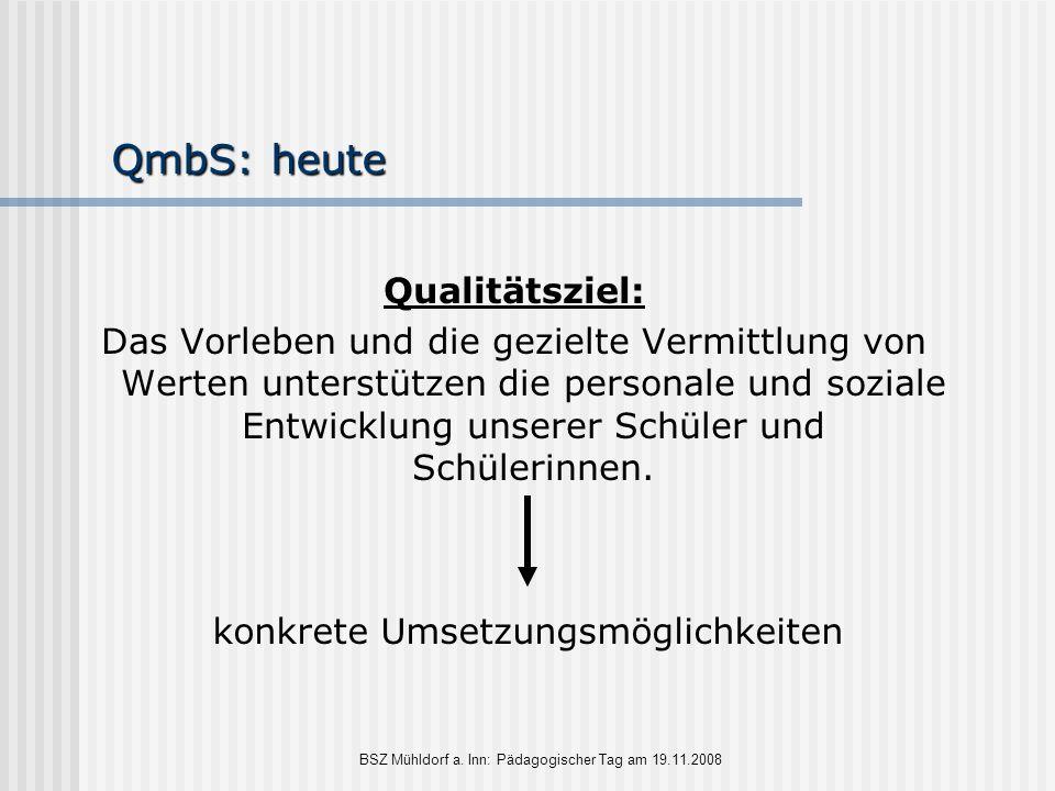 BSZ Mühldorf a. Inn: Pädagogischer Tag am 19.11.2008 QmbS: heute Qualitätsziel: Das Vorleben und die gezielte Vermittlung von Werten unterstützen die