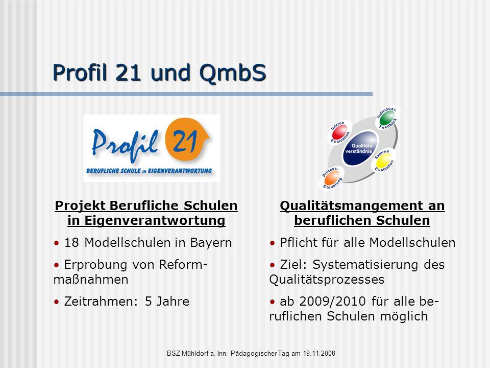 BSZ Mühldorf a. Inn: Pädagogischer Tag am 19.11.2008 Profil 21 und QmbS Projekt Berufliche Schulen in Eigenverantwortung 18 Modellschulen in Bayern Er