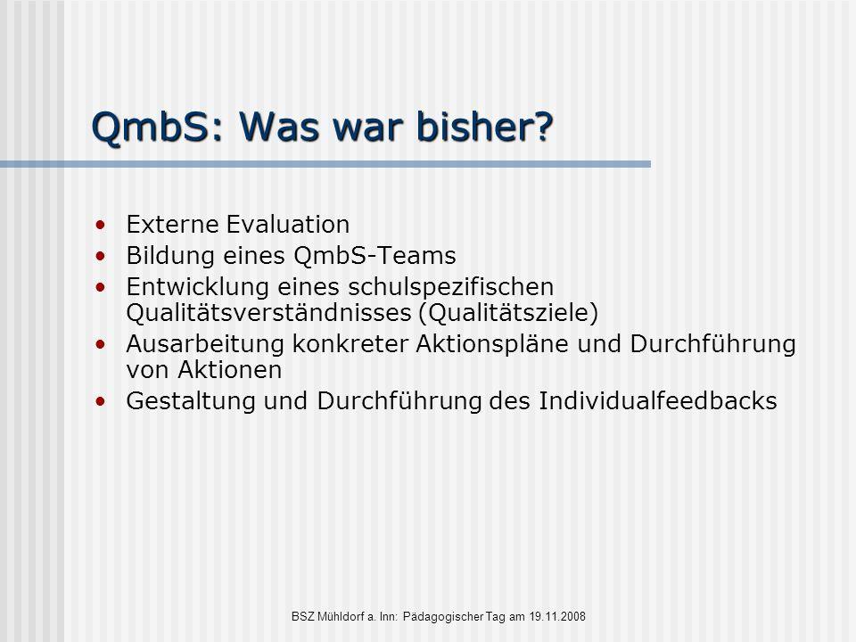 BSZ Mühldorf a. Inn: Pädagogischer Tag am 19.11.2008 QmbS: Was war bisher? Externe Evaluation Bildung eines QmbS-Teams Entwicklung eines schulspezifis