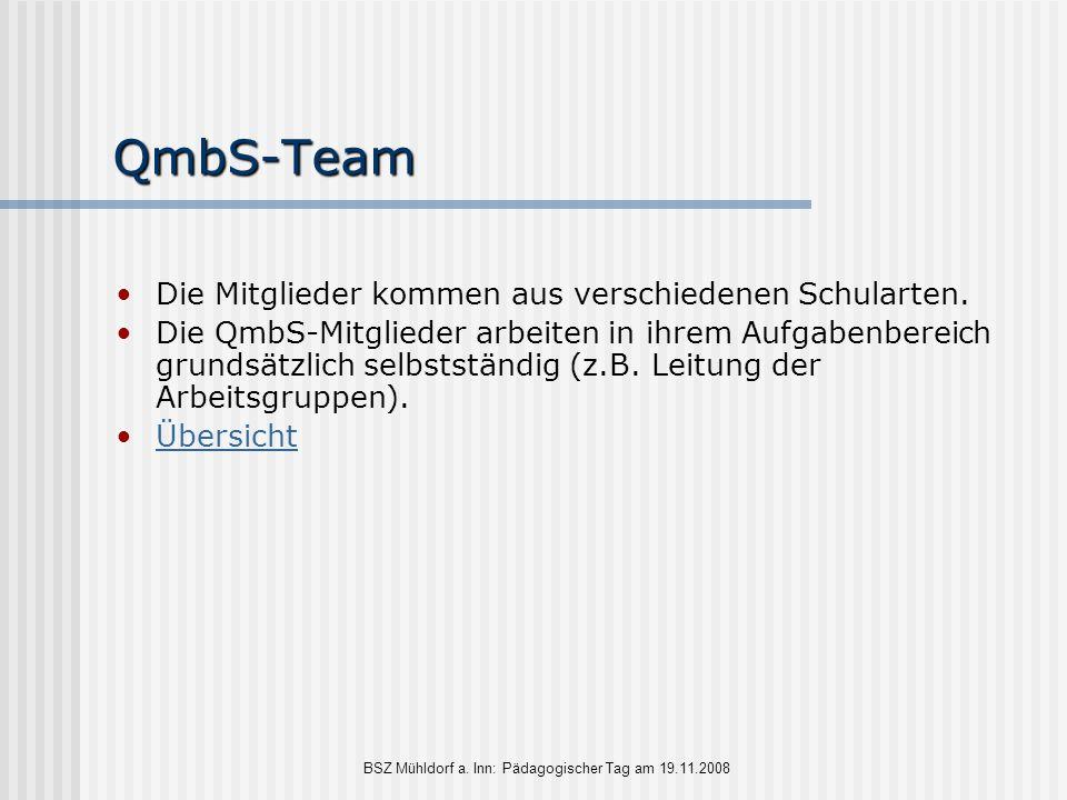 BSZ Mühldorf a. Inn: Pädagogischer Tag am 19.11.2008 QmbS-Team Die Mitglieder kommen aus verschiedenen Schularten. Die QmbS-Mitglieder arbeiten in ihr