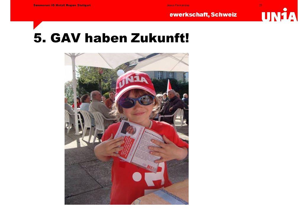 28 Das Europa der Gewerkschaften – Unia die Gewerkschaft, Schweiz Jesus FernandezSommeruni IG Metall Region Stuttgart 5.