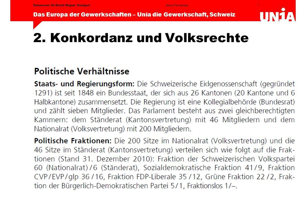 7 Das Europa der Gewerkschaften – Unia die Gewerkschaft, Schweiz Jesus FernandezSommeruni IG Metall Region Stuttgart 2.