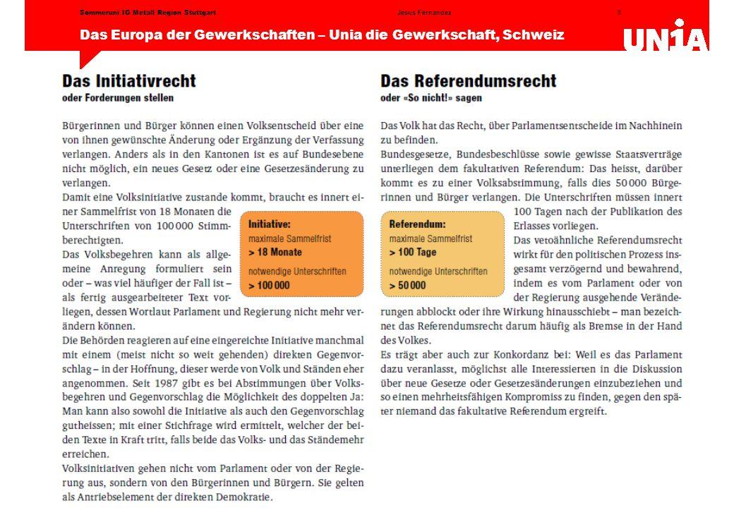 8 Das Europa der Gewerkschaften – Unia die Gewerkschaft, Schweiz Jesus FernandezSommeruni IG Metall Region Stuttgart