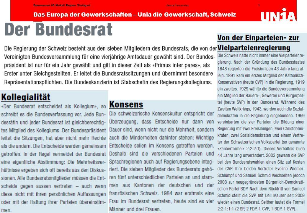 9 Das Europa der Gewerkschaften – Unia die Gewerkschaft, Schweiz Jesus FernandezSommeruni IG Metall Region Stuttgart