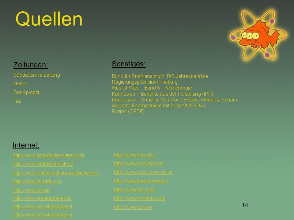 14 Quellen Sonstiges: Bund für Strahlenschutz BfS Jahresberichte Regierungspräsidium Freiburg Was ist Was – Band 3 – Kernenergie Kernfusion – Berichte aus der Forschung (IPP) Kernfusion – Ongena, Van Oost, Eidens, Mertens, Schorn Saubere Energiequelle mit Zukunft (EFDA) Fusion (CPEP) http://www.nirs.org/ http://www.ucsusa.org http://www.cnsc-ccsn.gc.ca http://www.rainbownet.ch http://www.iaea.org http://www.nytimes.com http://www.csn.es Internet: http://www.risikofaktormensch.ch http://www.weltderphysik.de http://www.leifi.physik.uni-muenchen.de http://www.jet.efda.org http://www.fzk.de http://www.reaktorpleite.de/ http://www.en.wikipedia.org http://www.de.wikipedia.org Zeitungen: Süddeutsche Zeitung Heise Der Spiegel Taz