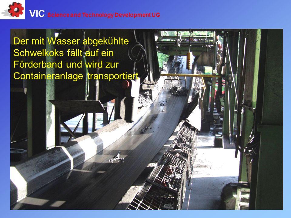 Der mit Wasser abgekühlte Schwelkoks fällt auf ein Förderband und wird zur Containeranlage transportiert VIC Science and Technology Development UG