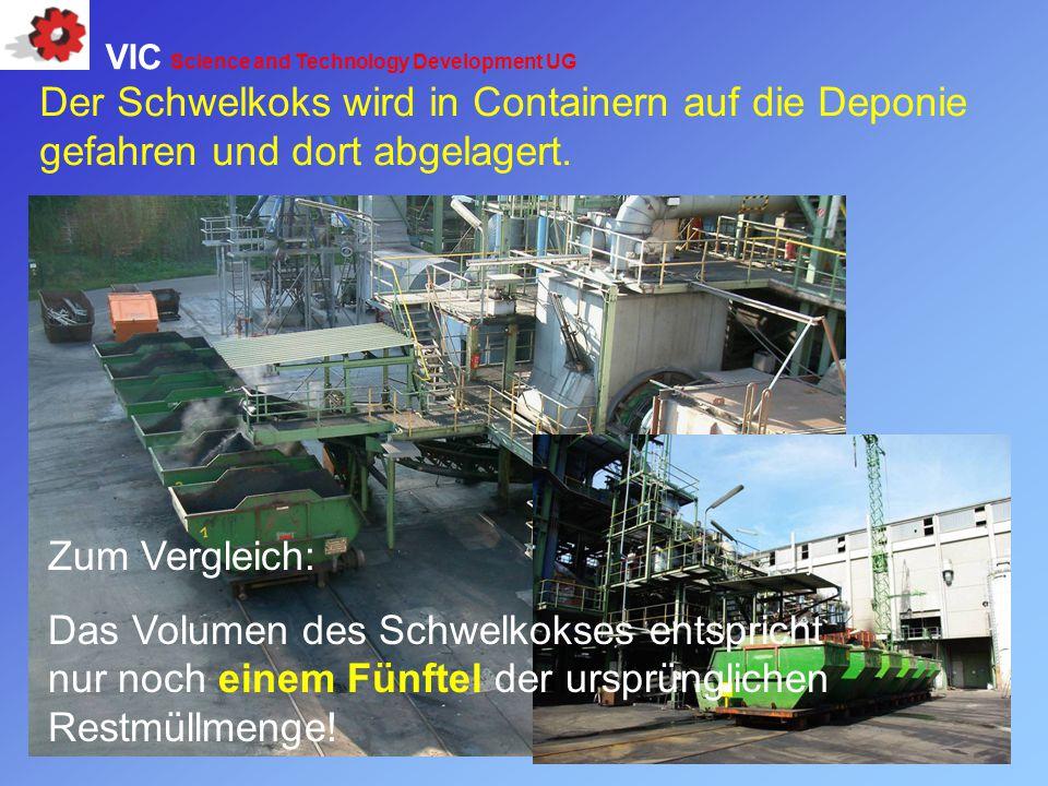 Zum Vergleich: Das Volumen des Schwelkokses entspricht nur noch einem Fünftel der ursprünglichen Restmüllmenge! Der Schwelkoks wird in Containern auf