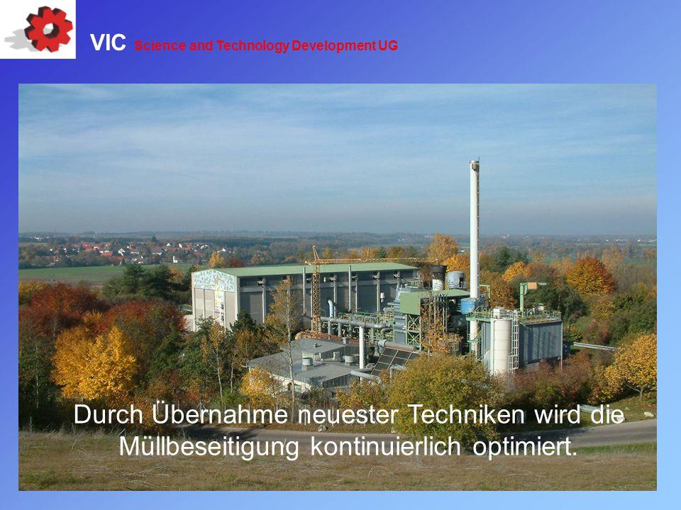 Durch Übernahme neuester Techniken wird die Müllbeseitigung kontinuierlich optimiert. VIC Science and Technology Development UG