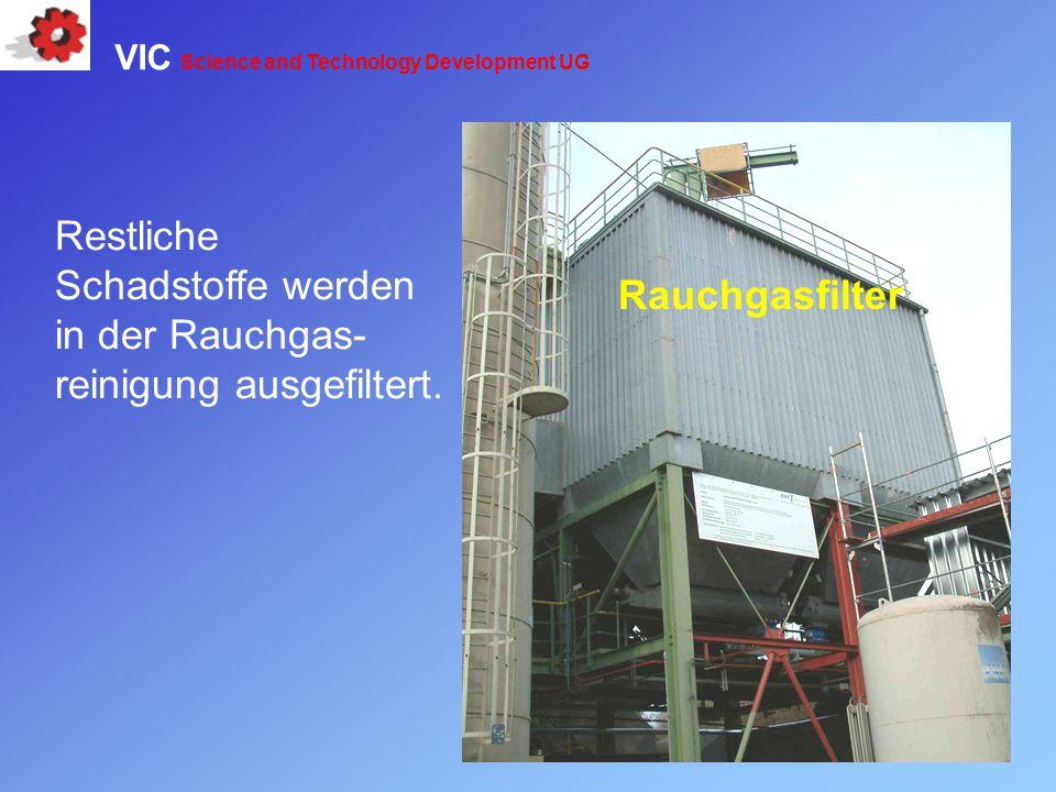Restliche Schadstoffe werden in der Rauchgas- reinigung ausgefiltert. Rauchgasfilter VIC Science and Technology Development UG