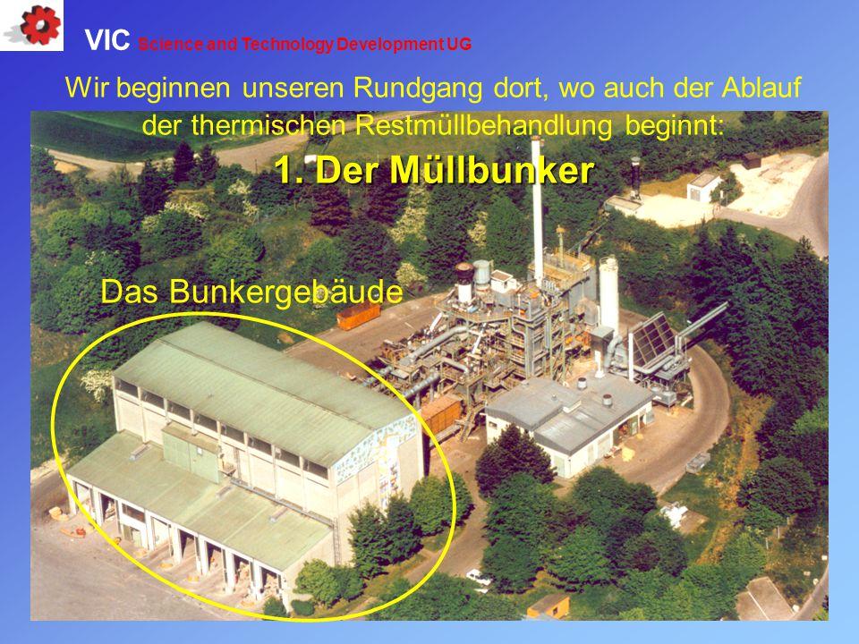 Wir beginnen unseren Rundgang dort, wo auch der Ablauf der thermischen Restmüllbehandlung beginnt: 1. Der Müllbunker Das Bunkergebäude VIC Science and