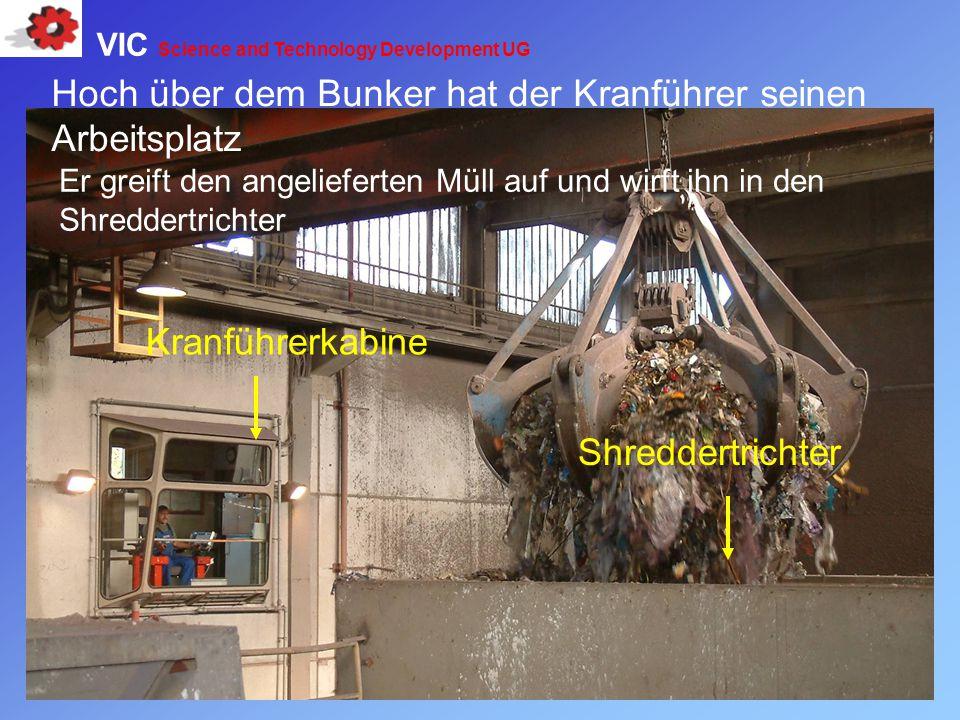 Hoch über dem Bunker hat der Kranführer seinen Arbeitsplatz Kranführerkabine Shreddertrichter Er greift den angelieferten Müll auf und wirft ihn in de