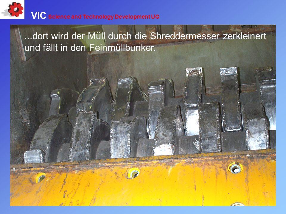 ...dort wird der Müll durch die Shreddermesser zerkleinert und fällt in den Feinmüllbunker. VIC Science and Technology Development UG