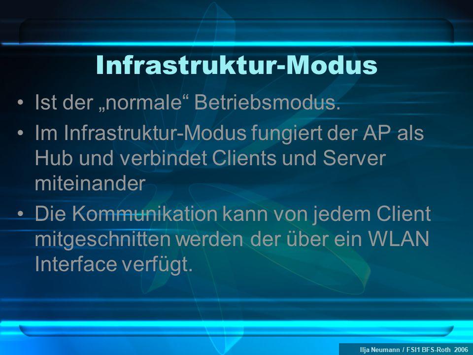 """Ilja Neumann / FSI1 BFS-Roth 2006 Infrastruktur-Modus Ist der """"normale"""" Betriebsmodus. Im Infrastruktur-Modus fungiert der AP als Hub und verbindet Cl"""