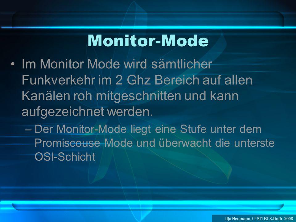 Ilja Neumann / FSI1 BFS-Roth 2006 Monitor-Mode Im Monitor Mode wird sämtlicher Funkverkehr im 2 Ghz Bereich auf allen Kanälen roh mitgeschnitten und kann aufgezeichnet werden.