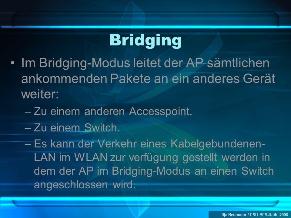 Ilja Neumann / FSI1 BFS-Roth 2006 Bridging Im Bridging-Modus leitet der AP sämtlichen ankommenden Pakete an ein anderes Gerät weiter: –Zu einem anderen Accesspoint.