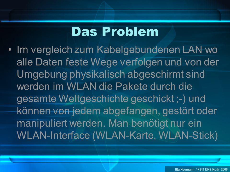 Ilja Neumann / FSI1 BFS-Roth 2006 Das Problem Im vergleich zum Kabelgebundenen LAN wo alle Daten feste Wege verfolgen und von der Umgebung physikalisch abgeschirmt sind werden im WLAN die Pakete durch die gesamte Weltgeschichte geschickt ;-) und können von jedem abgefangen, gestört oder manipuliert werden.