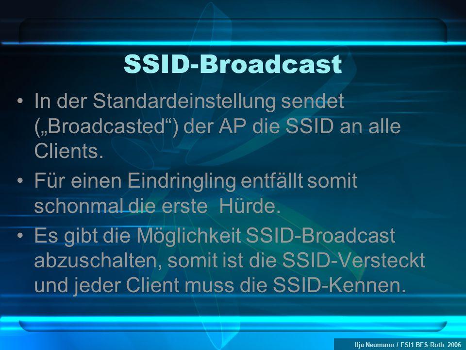 """Ilja Neumann / FSI1 BFS-Roth 2006 SSID-Broadcast In der Standardeinstellung sendet (""""Broadcasted ) der AP die SSID an alle Clients."""