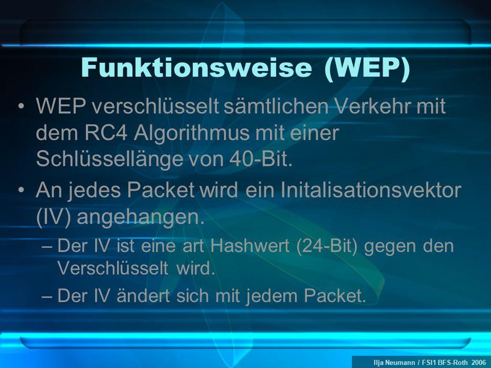 Ilja Neumann / FSI1 BFS-Roth 2006 Funktionsweise (WEP) WEP verschlüsselt sämtlichen Verkehr mit dem RC4 Algorithmus mit einer Schlüssellänge von 40-Bit.