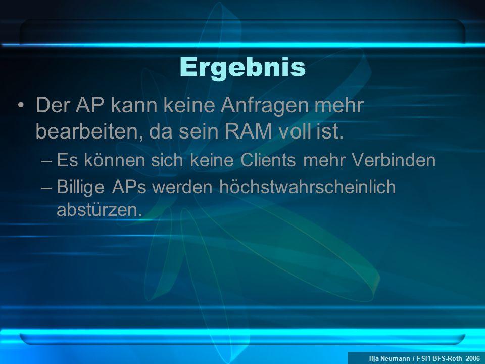 Ilja Neumann / FSI1 BFS-Roth 2006 Ergebnis Der AP kann keine Anfragen mehr bearbeiten, da sein RAM voll ist. –Es können sich keine Clients mehr Verbin