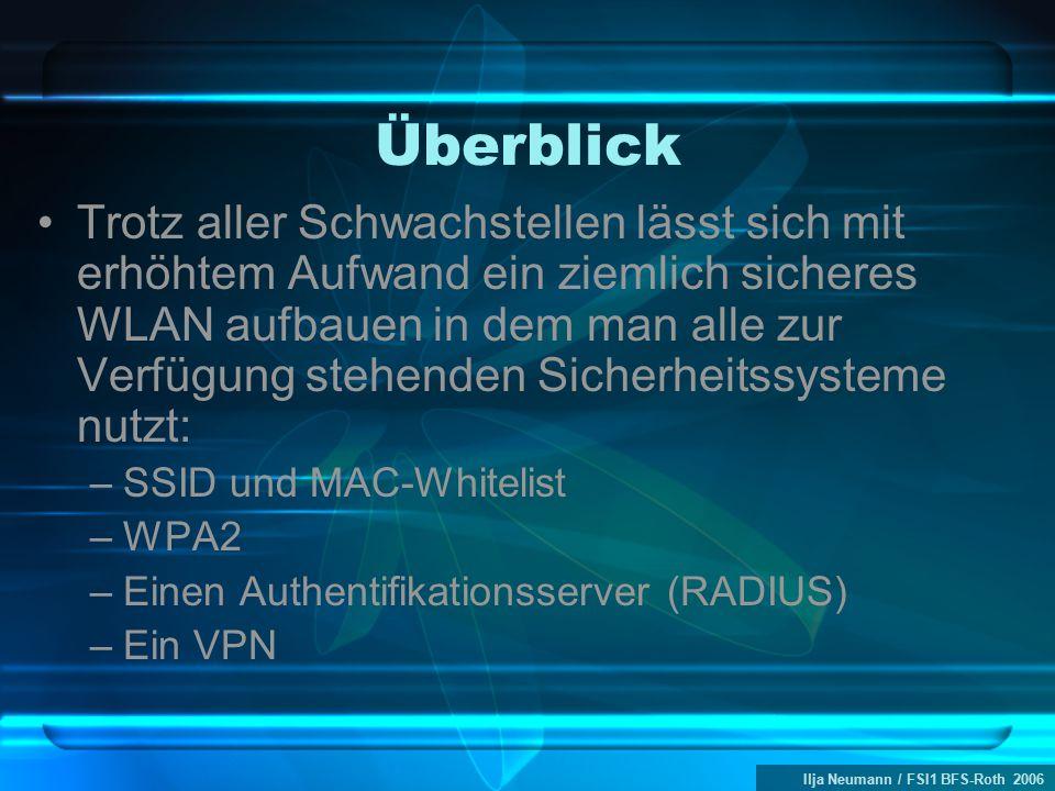 Ilja Neumann / FSI1 BFS-Roth 2006 Überblick Trotz aller Schwachstellen lässt sich mit erhöhtem Aufwand ein ziemlich sicheres WLAN aufbauen in dem man alle zur Verfügung stehenden Sicherheitssysteme nutzt: –SSID und MAC-Whitelist –WPA2 –Einen Authentifikationsserver (RADIUS) –Ein VPN