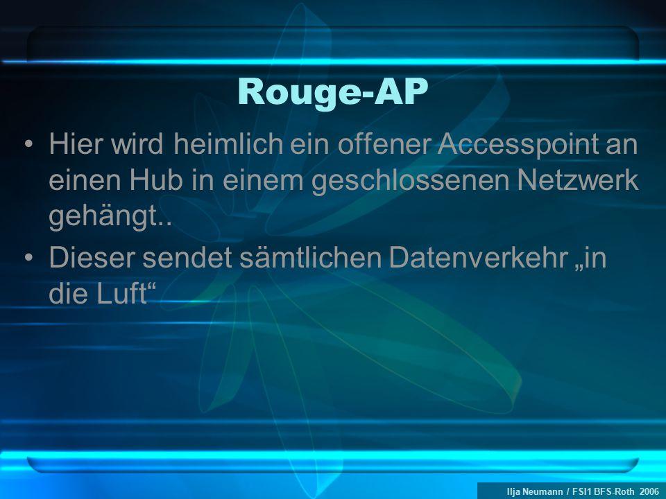 Ilja Neumann / FSI1 BFS-Roth 2006 Rouge-AP Hier wird heimlich ein offener Accesspoint an einen Hub in einem geschlossenen Netzwerk gehängt.. Dieser se