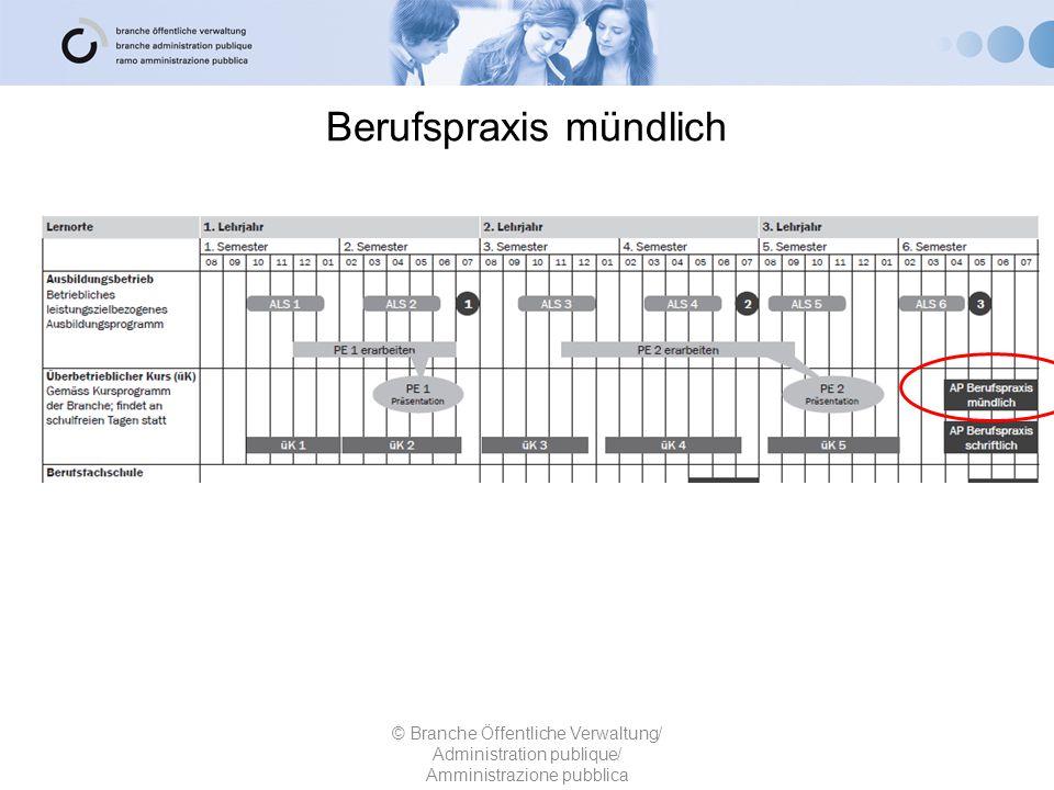 Berufspraxis mündlich © Branche Öffentliche Verwaltung/ Administration publique/ Amministrazione pubblica