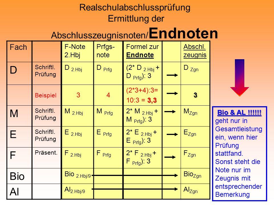 Realschulabschlussprüfung Ermittlung der Abschlusszeugnisnoten/ Endnoten Fach D M E F Bio Al Schriftl.
