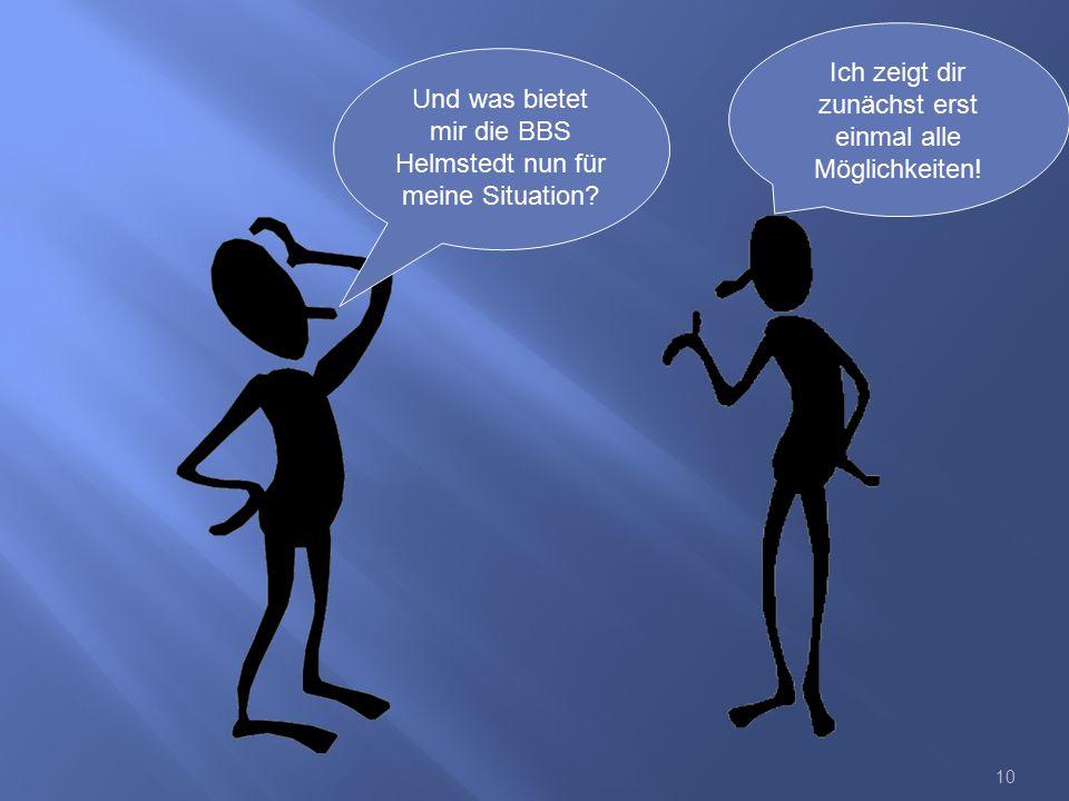 10 Und was bietet mir die BBS Helmstedt nun für meine Situation? Ich zeigt dir zunächst erst einmal alle Möglichkeiten!
