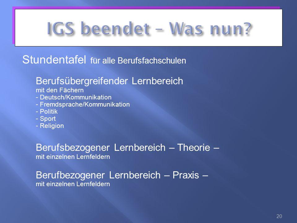 Stundentafel für alle Berufsfachschulen Berufsübergreifender Lernbereich mit den Fächern - Deutsch/Kommunikation - Fremdsprache/Kommunikation - Politi