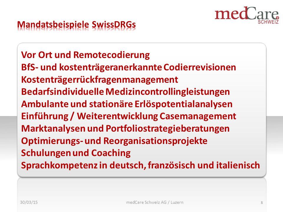 30/03/15 8 Vor Ort und Remotecodierung BfS- und kostenträgeranerkannte Codierrevisionen Kostenträgerrückfragenmanagement Bedarfsindividuelle Medizinco